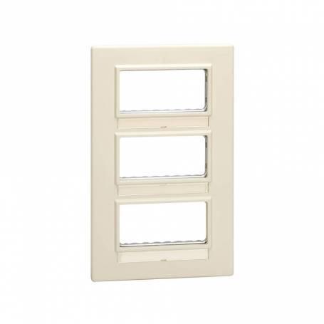 Marco para cajas de superficie o empotrar con bastidor de 3 filas para 6 elementos marfil Simon 27 Centralizaciones
