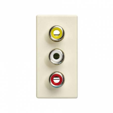Conector 3RCA de medio elemento marfil Simon 27 Play