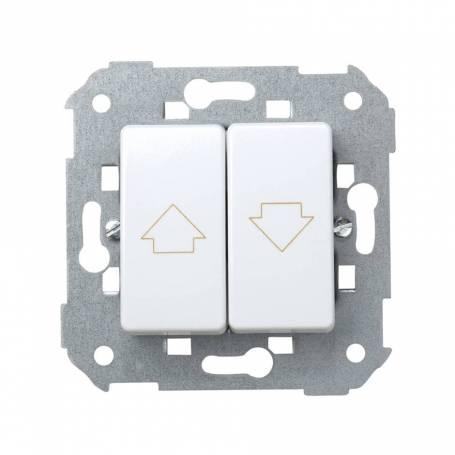 Grupo de 2 pulsadores para persianas 10 A 250V~ sin enclavamiento y con embornamiento rápido blanco Simon 27 Play