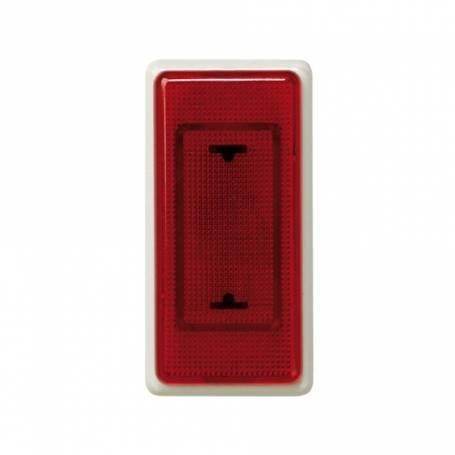 Señalizador luminoso de medio elemento con rosca mignonnette E-10 marfil y tapa difusora roja Simon 27 Play
