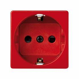 Base de enchufe schuko 16 A 250V~ con dispositivo seguridad y embornamiento rápido rojo Simon 27 Play