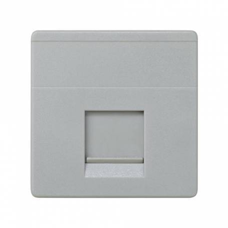 Placa de voz y datos plana con guardapolvo para 1 conector RJ45 AMP® gris Simon 27 Play