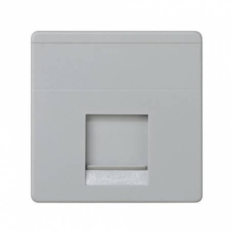 Placa de voz y datos plana con guardapolvo para 1 conector RJ45 AVAYA® gris Simon 27 Play