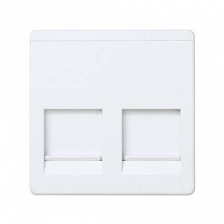 Placa de voz y datos plana con guardapolvo para 2 conectores RJ45 AVAYA® blanco Simon 27 Play