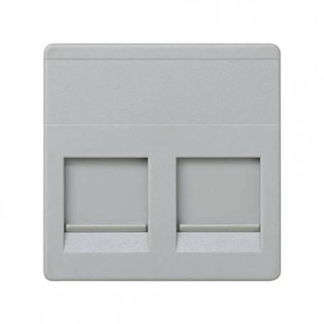 Placa de voz y datos plana con guardapolvo para 2 conectores RJ45 AVAYA® gris Simon 27 Play