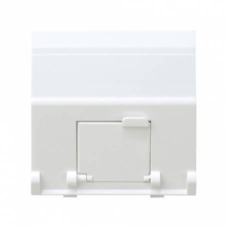 Placa de voz y datos inclinada con guardapolvo para 1 conector RJ45 AVAYA® blanco Simon 27 Play