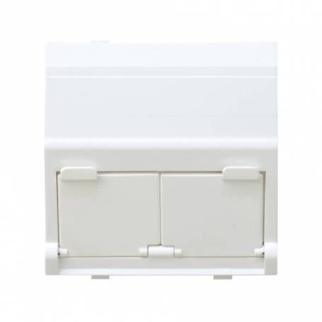 Placa de voz y datos inclinada con guardapolvo para 2 conectores RJ45 AVAYA® blanco Simon 27 Play
