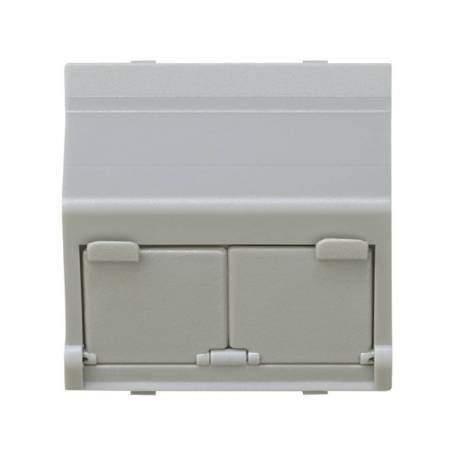 Placa de voz y datos inclinada con guardapolvo para 2 conectores RJ45 AVAYA® gris Simon 27 Play