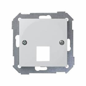 Placa de voz y datos plana con guardapolvo para 1 conector RJ45 AMP® blanco Simon 28