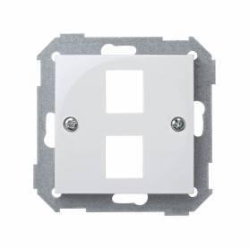 Placa de voz y datos plana con guardapolvo para 2 conectores RJ45 AMP® blanco Simon 28