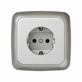 Base de enchufe schuko monobloc 16 A 250 V~ con disp. seguridad y sistema de embornamiento tornillo aluminio Simon 31