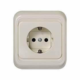 Base de enchufe schuko monobloc 16 A 250V~ con dispositivo seguridad y sistema de embornamiento tornillo marfil Simon 75