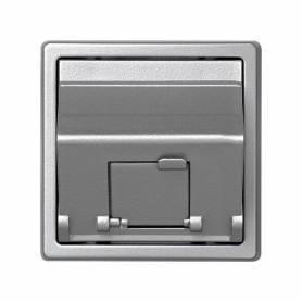 Placa de voz y datos inclinada con guardapolvo con 1 conector RJ45 AMP® de categoría 5e UTP aluminio Simon 73 Loft