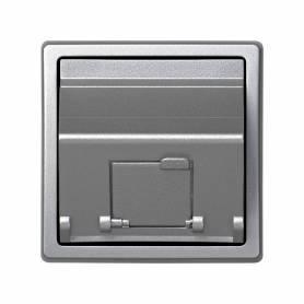 Placa de voz y datos inclinada con guardapolvo para 1 conector RJ45 AMP® aluminio Simon 73 Loft