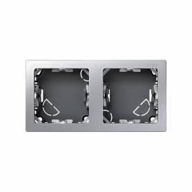 Marco con base para 2 elementos horizontal aluminio Simon 73 Loft