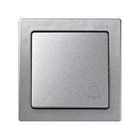 Pulsador monobloc con grabado campana 10 A 250V~ con sistema de embornamiento a tornillo aluminio Simon 73 Loft