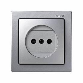 Base de enchufe bipolar monobloc 16 A 250V~ con dispositivo seguridad y embornamiento a tornillo aluminio Simon 73 Loft