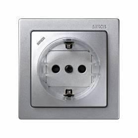 Base de enchufe schuko monobloc 16 A 250V~ con dispositivo seguridad y embornamiento a tornillo aluminio Simon 73 Loft