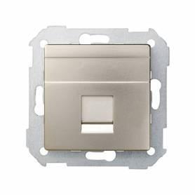 Placa de voz y datos plana con guardapolvo para 1 conector RJ45 AMP® cava Simon 82