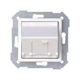 Placa de voz y datos inclinada con guardapolvo para 1 conector RJ45 blanco Simon 82