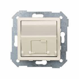 Placa de voz y datos inclinada con guardapolvo para 1 conector RJ45 marfil Simon 82