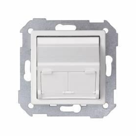 Placa de voz y datos inclinada con guardapolvo para 2 conectores RJ45 blanco Simon 82