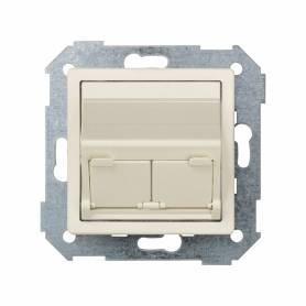 Placa de voz y datos inclinada con guardapolvo para 2 conectores RJ45 marfil Simon 82