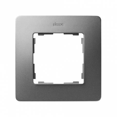 Marco para 1 elemento aluminio frío base negro Simon 82 Detail Original