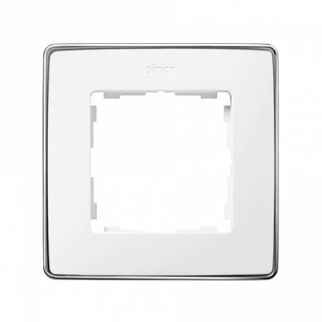 Marco para 1 elemento blanco base cromo Simon 82 Detail Select