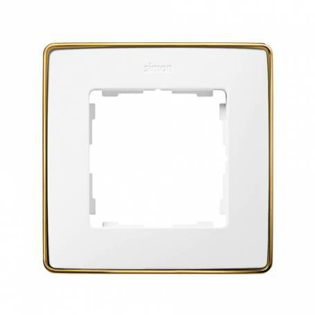 Marco para 1 elemento blanco base oro Simon 82 Detail Select