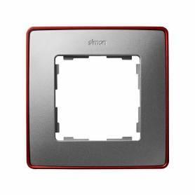 Marco para 1 elemento aluminio frío base rojo Simon 82 Detail Select