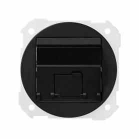 Placa de voz y datos plana con guardapolvo para 1 conector RJ45 AMP® grafito Simon 88