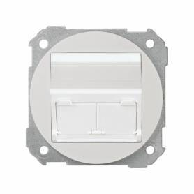 Placa de voz y datos plana con guardapolvo para 2 conectores RJ45 AMP® blanco Simon 88
