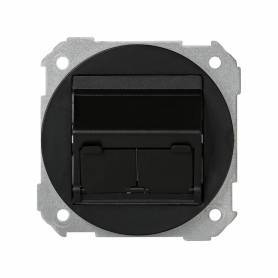 Placa de voz y datos plana con guardapolvo para 2 conectores RJ45 AMP® grafito Simon 88