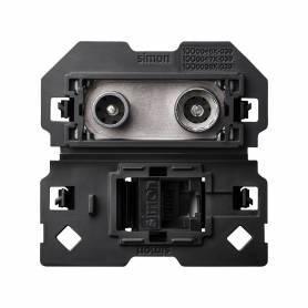 Toma de señal modular R-TV+SAT única y de voz y datos RJ45 categoría 6 UTP Simon 100