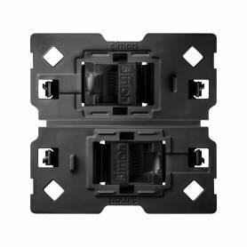 Conector informático RJ45 AMP® de categoría 6 UTP doble con adaptador Simon 100