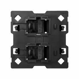 Pieza adaptadora para 2 conectores informáticos RJ45 compatible con Keystone® y Systimax® Simon 100