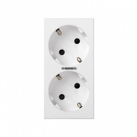 Base de enchufe schuko doble 16 A 250V~ con dispositivo de seguridad, led y embornamiento 1Click® blanco Simon 500 Cima
