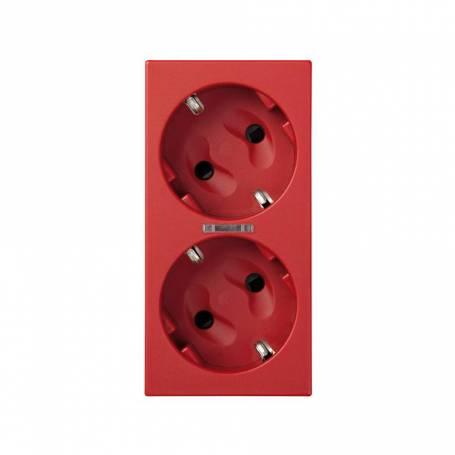 Base de enchufe schuko doble 16 A 250V~ con dispositivo de seguridad, led y embornamiento a tornillo rojo Simon 500 Cima