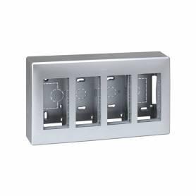 Caja de pared de superficie para 4 elementos dobles aluminio Simon 500 Cima