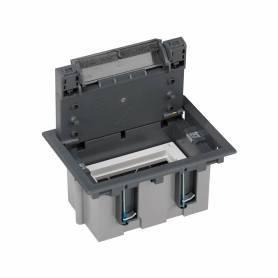 Caja de suelo regulable para 2 elementos en instalación de suelo técnico gris Simon 500 Cima