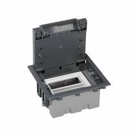 Caja de suelo regulable para 4 elementos en instalación de suelo técnico gris Simon 500 Cima