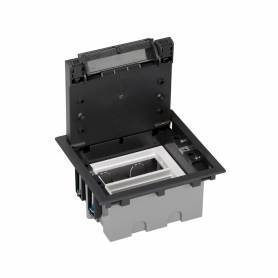 Caja de suelo regulable para 4 elementos en instalación de suelo técnico grafito Simon 500 Cima