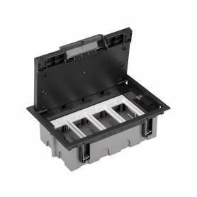 Caja de suelo regulable para 8 elementos en instalación de suelo técnico grafito Simon 500 Cima
