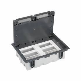 Caja de suelo regulable para 12 elementos en instalación de suelo técnico gris Simon 500 Cima
