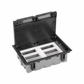 Caja de suelo regulable para 12 elementos en instalación de suelo técnico grafito Simon 500 Cima