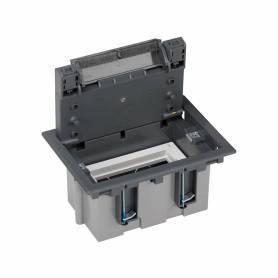 Caja de suelo regulable para 2 elementos en instalación de suelo de pavimento gris Simon 500 Cima