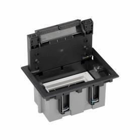 Caja de suelo regulable para 2 elementos en instalación de suelo de pavimento grafito Simon 500 Cima