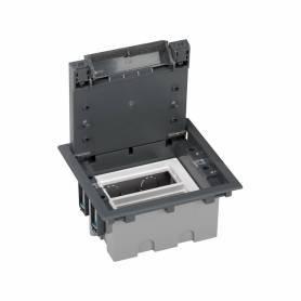 Caja de suelo regulable para 4 elementos en instalación de suelo de pavimento gris Simon 500 Cima
