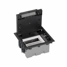 Caja de suelo regulable para 4 elementos en instalación de suelo de pavimento grafito Simon 500 Cima